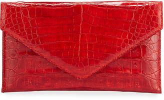 Judith Leiber Couture Flat Caiman Crocodile Envelope Clutch