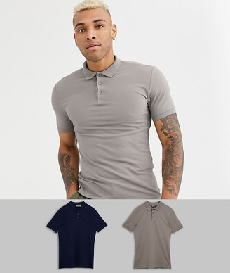 ASOS DESIGN 2 pack organic muscle fit pique polo save