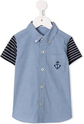 Familiar Contrast Sleeves Button Down Shirt