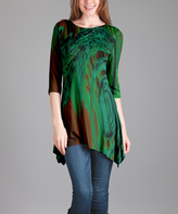 Lily Green & Brown Abstract Sidetail Tunic - Plus Too
