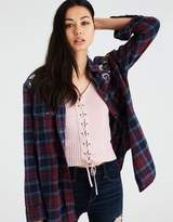 American Eagle Outfitters AE EMBROIDERED SHINE PLAID BUTTON-DOWN SHIRT