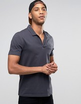 Asos Polo With Open Collar and Pocket In Gray