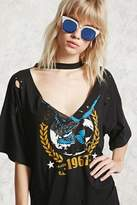 Forever 21 FOREVER 21+ Raw-Cut Eagle Graphic Tee
