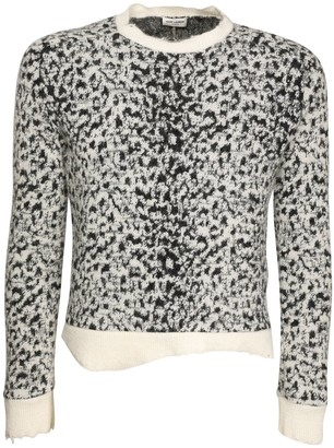 Saint Laurent Leopard Jacquard Wool Blend Sweater
