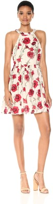 En Creme Women's Floral Print Fit and Flare Dress