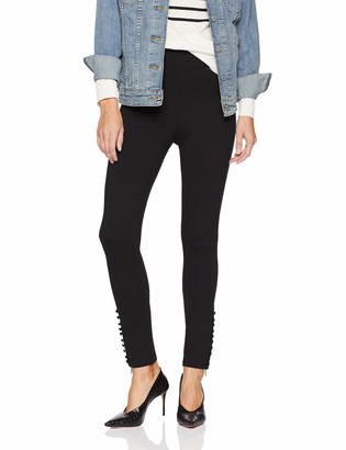 Kensie Women's Compression Ponte Pant with Button and Zipper Ankle Detail