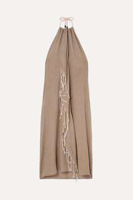 BEIGE Su Paris SU Paris - Tina Fringed Cotton-gauze Halterneck Dress