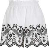 River Island Womens White floral embroidered shorts
