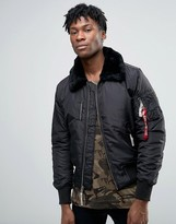 Alpha Industries Bomber Jacket With Shearling Collar In Slim Fit Black