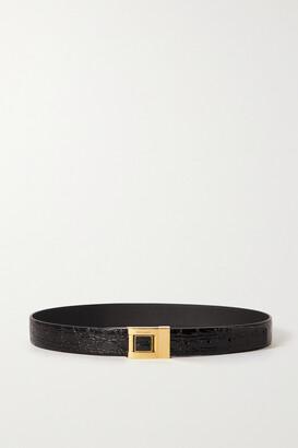 Saint Laurent Croc-effect Leather Belt - Black