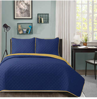 University Solid Reversible 3pc King quilt set Navy reverse to Gold Bedding