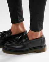 Dr. Martens Adrian Black Leather Tassel Loafer Flat Shoes
