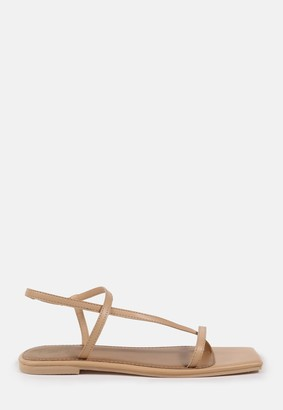 Missguided Nude Toe Post Strap Flat Sandals
