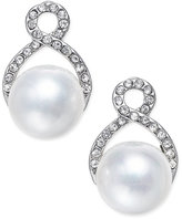 INC International Concepts Silver-Tone Imitation Pearl and Pavé Post Earrings, Only at Macy's