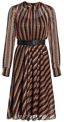 Akris Punto Houndstooth-Printed Crepe Dress