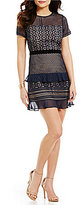 Lucy Paris Crew Neck Short Sleeve Ruffled Lace Sheath Dress