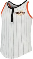 New Era Girls Youth White/Black San Francisco Giants Pinstripe Jersey Racerback Tank Top