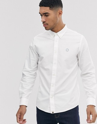 Pretty Green badge logo oxford shirt in white