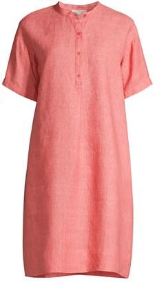 Eileen Fisher Mandarin Collar Linen Shirtdress
