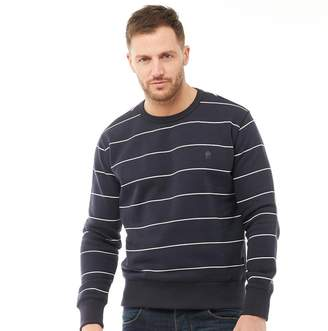 French Connection Mens FC Stripe Crew Neck Sweatshirt Navy/White
