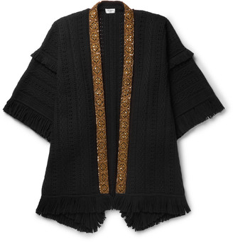 Saint Laurent Embellished Fringed Virgin Wool Poncho