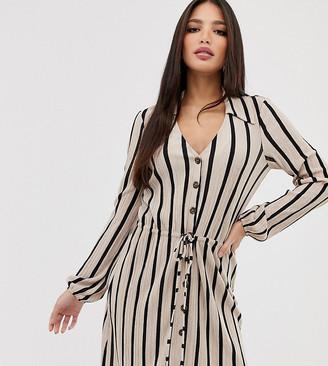 Asos DESIGN Tall mini textured shirt dress in stripe