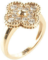 Van Cleef & Arpels 18kt Yellow Gold Diamond Alhambra Ring Size 6 In Box