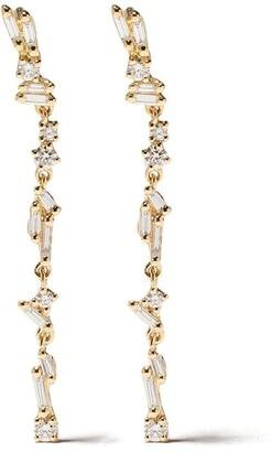 Suzanne Kalan 18kt yellow gold Sparkler flexible diamond dangler earrings