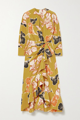 Johanna Ortiz Wrap-effect Ruffled Floral-print Silk Crepe De Chine Midi Dress - Saffron