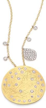 Meira T Diamond, 14K Yellow & White Gold Disc Pendant Necklace
