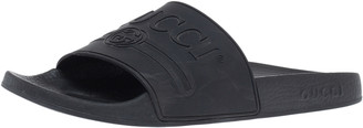Gucci Black GG Rubber Flat Slides Size 39