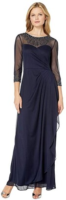 Alex Evenings Long A-Line Dress with Beaded Sweetheart Illusion Neckline (Dark Navy) Women's Dress