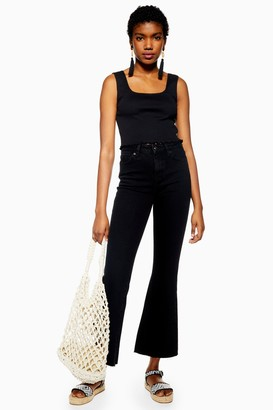 Topshop Womens Black Cropped Kick Flare Dree Jeans - Washed Black