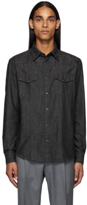 Ermenegildo Zegna Black Chambray Shirt