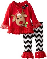Rare Editions Girls Christmas Reindeer Tunic Chevron Pant Set