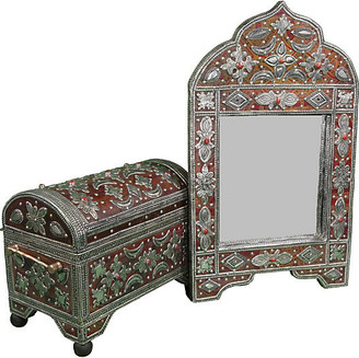 One Kings Lane Vintage Handmade Moroccan Mirror & Chest - The Moroccan Room - brown/red
