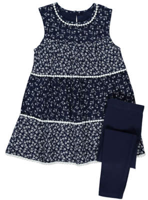 George Tiered Floral Dress and Leggings Outfit