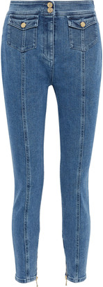 Balmain Button-detailed High-rise Skinny Jeans