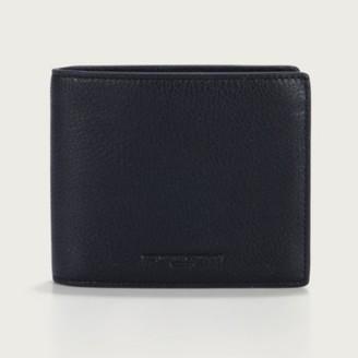 The White Company Men's Leather Bi-Fold Wallet, Black, One Size