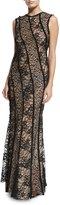 Jason Wu Sleeveless Corded Lace Gown, Black