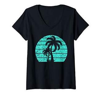 Womens California Republic Turquoise Palm Tshirt V-Neck T-Shirt