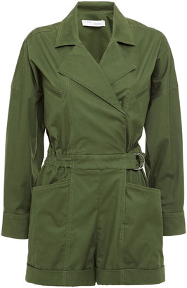 IRO Belo Belted Cotton-blend Twill Playsuit