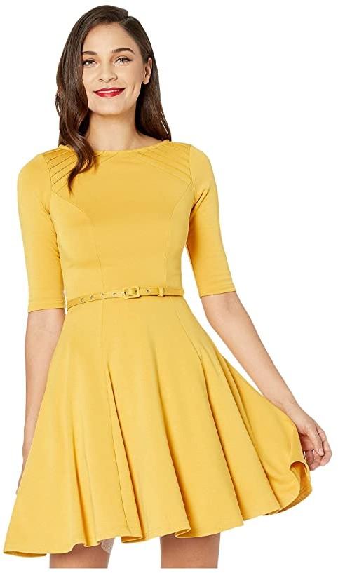Unique Vintage Mustard Yellow Knit Half Sleeve Fit Flare Dress (Mustard) Women's Dress