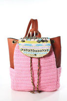 Elliot Mann Pink Woven Fabric Beaded Leather Accent Backpack Handbag