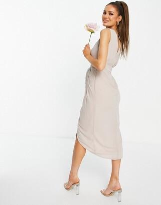 TFNC Bridesmaid wrap midi dress in pink