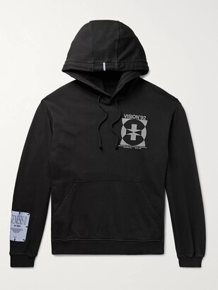 McQ Appliqued Printed Loopback Cotton-Jersey Hoodie