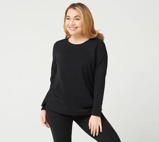 Denim & Co. Active French Terry Round-Neck Long-Sleeve Top