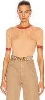Chloé Rib Short Sleeve Top in Nude Orange   FWRD
