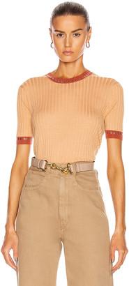 Chloé Rib Short Sleeve Top in Nude Orange | FWRD