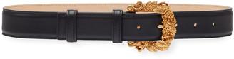 Versace Leather Baroque-Buckle Belt